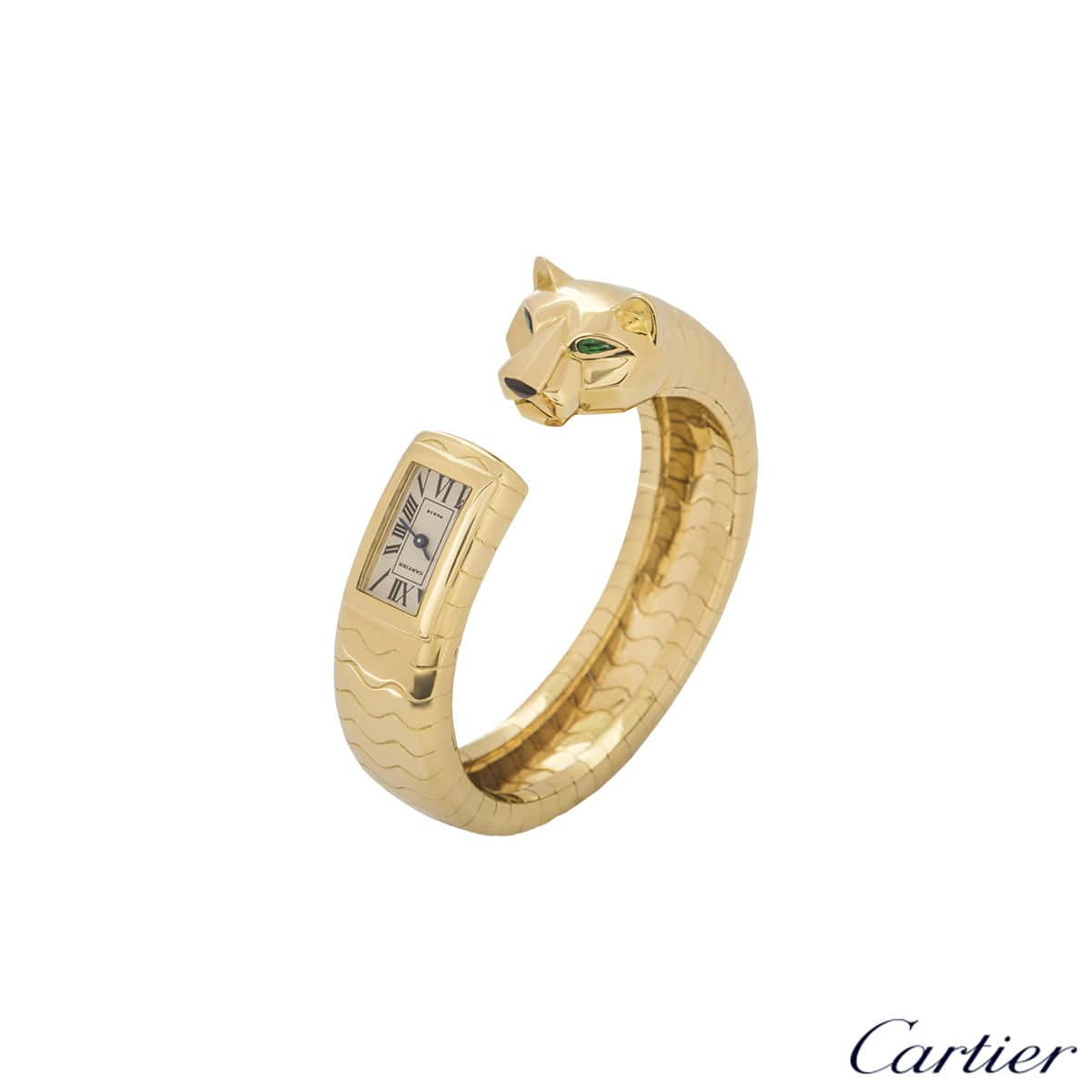 Cartier Yellow Gold Emerald And Onyx Panther Lakard Cuff Bangle Watch